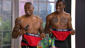 David Oliver and Erik Kynard on the today show with Kathie Lee and Hoda. Team USA Core Apparel