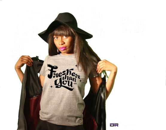 """DR Athletic Heather Grey """"Fresher Than You"""" Tee w/ custom made leather vest (Graphic Designer: Indi Randall)"""