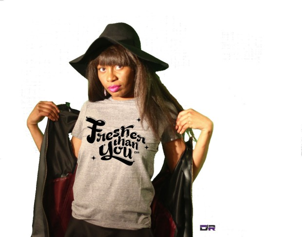"DR Athletic Heather Grey ""Fresher Than You"" Tee w/ custom made leather vest (Graphic Designer: Indi Randall)"